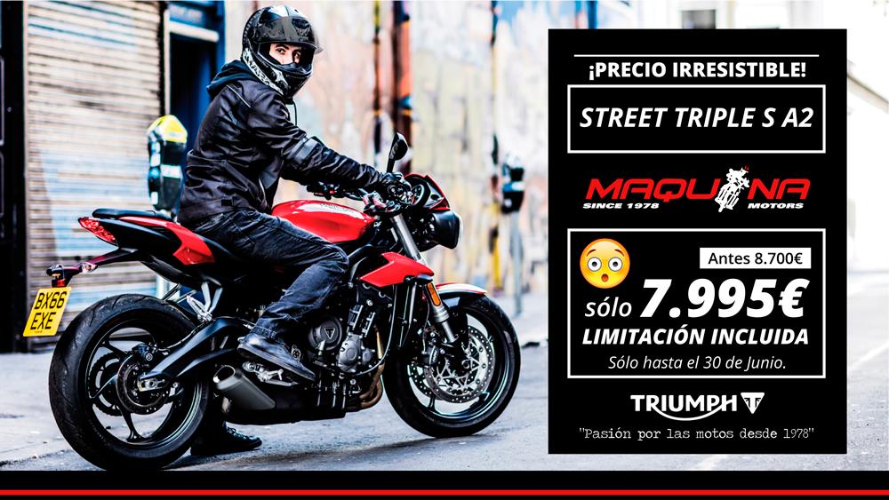 ¡Precio Irresistible! La Triumph Street Triple S A2 puede ser tuya desde 7.995€