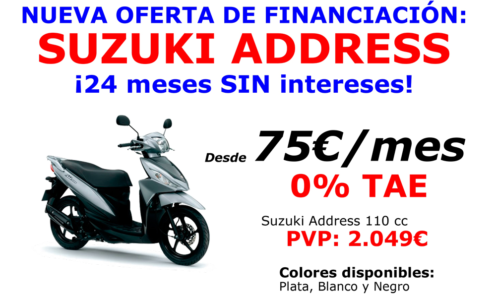 Nueva oferta de financiación Suzuki Address 110cc: 24 meses SIN intereses