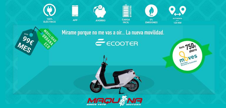 En Maquina Motors nos enchufamos a una movilidad urbana, sostenible y económica: ECOOTER