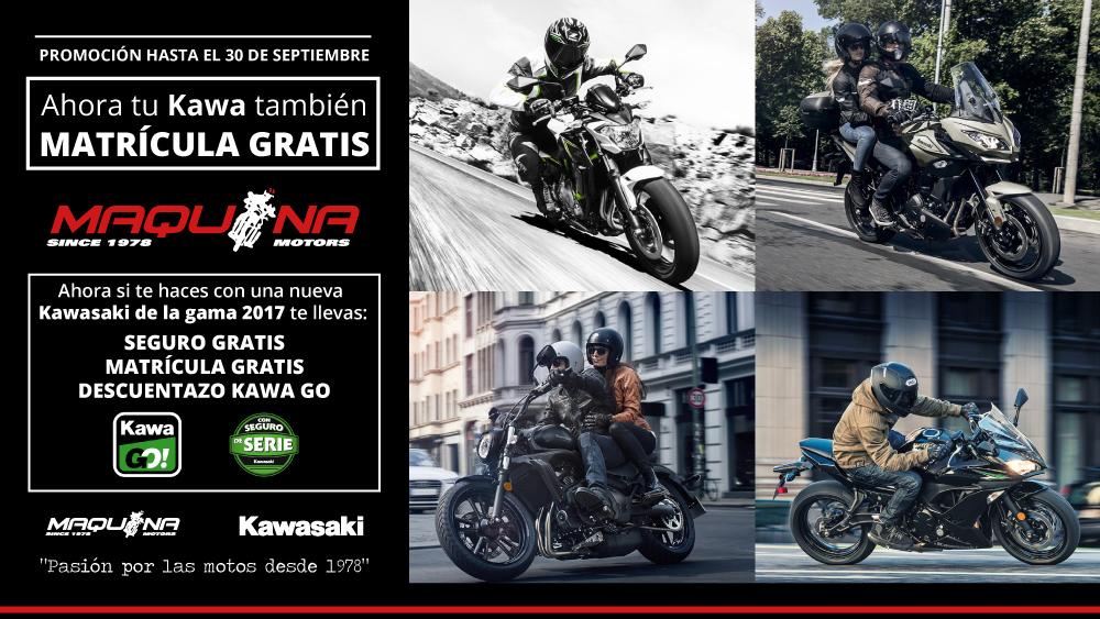 Promoción Kawasaki de verano con Matrícula Gratis, Seguro Gratis y Descuento Kawa Go