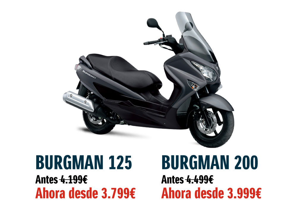 Ahora tu Burgman 125 y 200 con promoción. Enero 2018