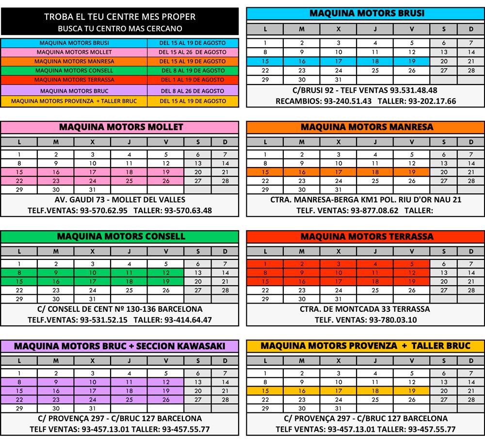 Calendario de vacaciones Grupo Maquina Motors Agosto 2016