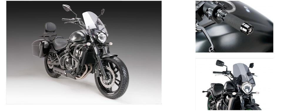 Nuevos accesorios Puig para la Kawasaki Vulcan S: pantalla, parrilla, respaldo, devfensas, puños, alforjas...
