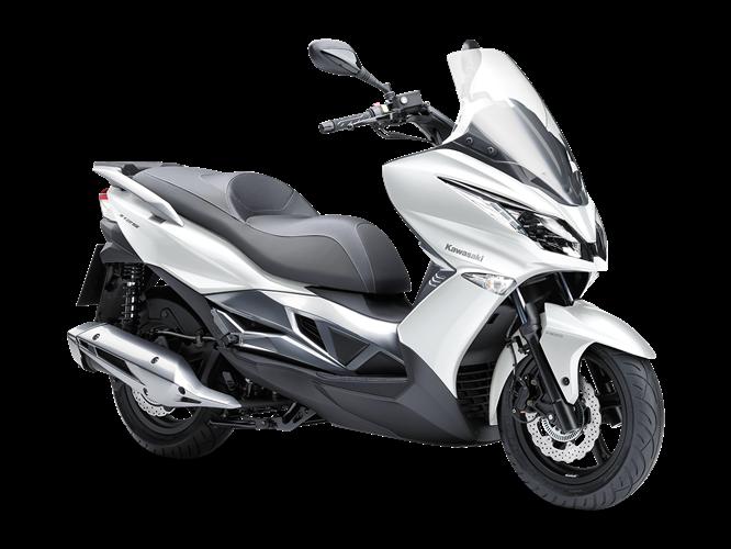 Moto Kawasaki J125 de color blanco