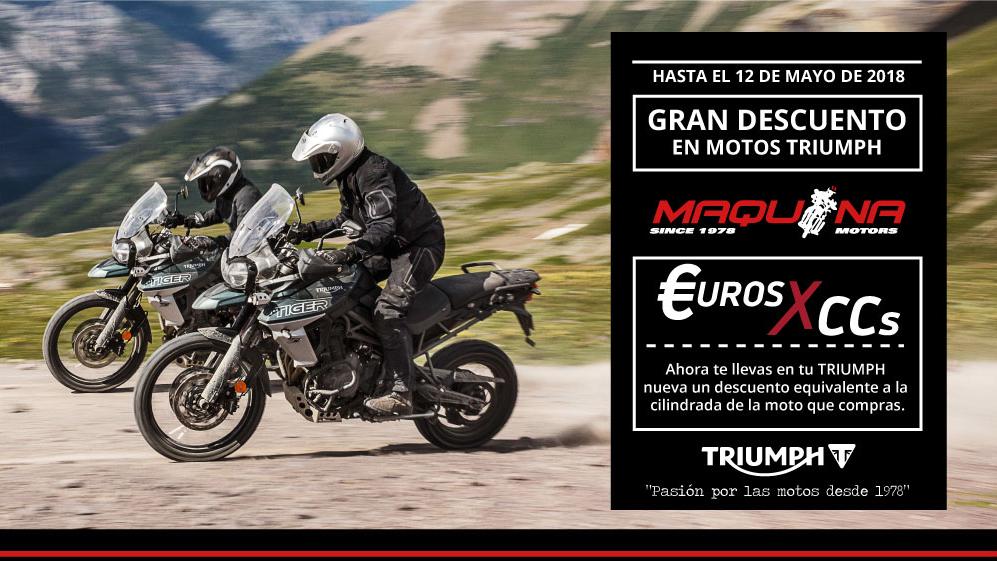Promoción Triumph Descuentos en Moto Nueva: Euros por Cilindrada