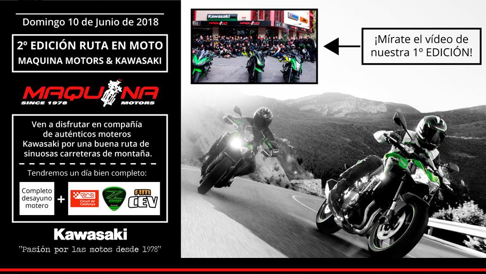 Salida en ruta motera Kawasaki & Maquina Motors Domingo 10 de Junio de 2018.